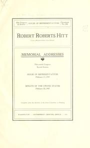 Cover of: Robert Roberts Hitt (late a representative from Illinois) Memorial addresses | United States. 59th Congress, 2d session