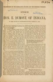 Cover of: Readmission of the rebellious states and the members thereof by Ebenezer Dumont