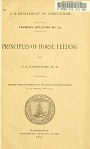 Cover of: Principles of horse feeding | Langworthy, C. F.