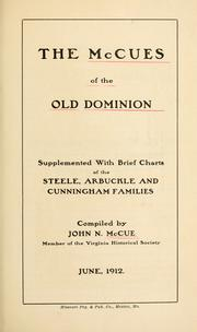Cover of: The McCues of the Old Dominion | John Nolley McCue
