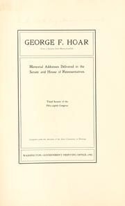 Cover of: George F. Hoar | United States. 58th Congress, 3d session