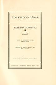 Cover of: Rockwood Hoar (late a representative from Massachusetts) | United States. 59th Congress, 2d session