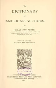Cover of: A dictionary of American authors | Oscar Fay Adams