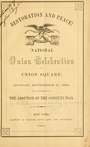 Cover of: Restoration and peace! | New York. Union square meeting, September 17, 1866