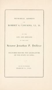 Cover of: Memorial address | Cousins, Robert Gordon