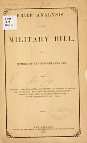 Cover of: Brief analysis of the miltiary bill | James P. Boyd