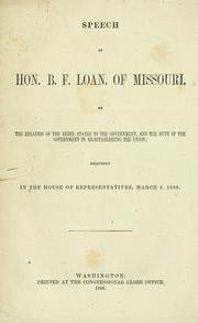 Cover of: Speech of Hon. B. F. Loan | Benjamin Franklin Loan