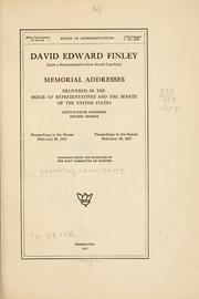 Cover of: David Edward Finley | United States. 64th Congress, 2d session