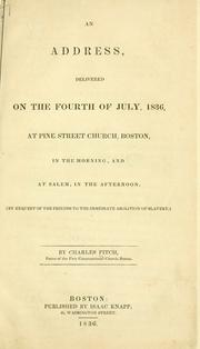 Cover of: An address, delivered on the fourth of July, 1836 by Fitch, Charles