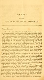 Cover of: Address to the people of west Virginia | Henry Ruffner