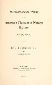 Cover of: The Assiniboine | Lowie, Robert Harry