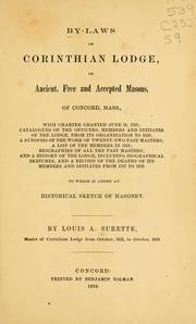 Cover of: By-laws of Corinthian lodge, of Ancient by Freemasons. Corinthian Lodge (Concord, Mass.)