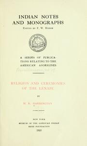 Cover of: ... Religion and ceremonies of the Lenape | Harrington, M. R.