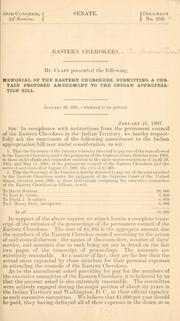 Cover of: Memorial of the Eastern Cherokees submitting a certain proposed amendment to the Indian appropriation bill by Eastern Cherokees in the Indian Territory