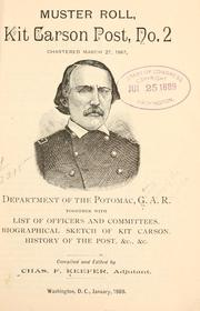 Cover of: Muster roll, Kit Carson Post No. 2 by Grand Army of the Republic. Dept. of the Potomac Kit Carson post, no. 2