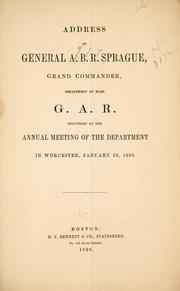 Cover of: Address of General A. B. R. Sprague by Augustus Brown Reed Sprague