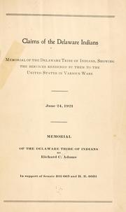 Cover of: Claims of the Delaware Indians | Richard Calmit Adams