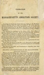 Cover of: Formation of the massachusetts abolition society | Massachusetts abolition society