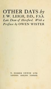 Cover of: Other days by James Wentworth Leigh