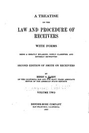Cover of: A treatise on the law and procedure of receivers by Henry Gabriel Tardy