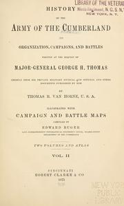 Cover of: History of the Army of the Cumberland by Thomas B. Van Horne