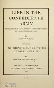 Cover of: Life in the Confederate Army | Arthur Peronneau Ford