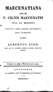 Cover of: Maecenatiana by Heinrich Albrecht Lion