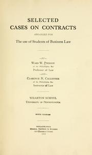 Cover of: Selected cases on contracts | Ward Wright Pierson