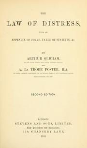 Cover of: The law of distress by Arthur Oldham