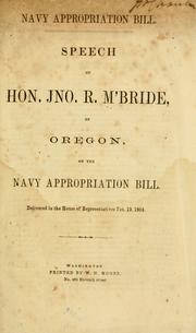 Cover of: Navy appropriation bill by John Rogers McBride
