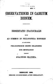 Cover of: Observationes in Cassium Dio | Joannes Maisel