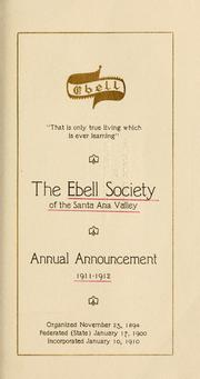 Cover of: Annual announcement, 1911/12-1946/47 | Ebell Society of the Santa Ana Valley.