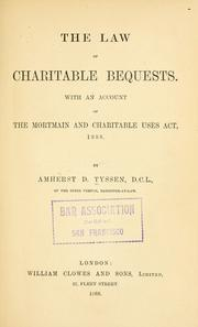 Cover of: The law of charitable bequests | Amherst D. Tyssen