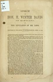 Cover of: Speech of Hon. H. Winter Davis, of Maryland | Davis Henry Winter