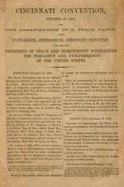 Cover of: Cincinnati convention, October 18, 1864 | Peace Convention (1864 Cincinnati, Ohio)