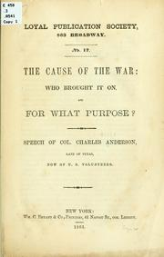 Cover of: The cause of the war | Anderson, Charles