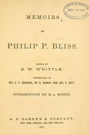 Cover of: Memoirs of Philip P. Bliss by Daniel W. Whittle