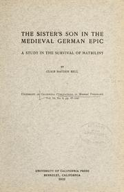Cover of: The sister's son in the medieval German epic | Bell, Clair Hayden