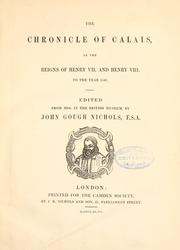 Cover of: The chronicle of Calais | Richard Turpyn