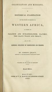 Cover of: Colonization and missions by Joseph Tracy