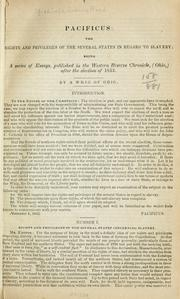 Cover of: The rights and privileges of the several states in regard to slavery | Joshua Reed Giddings