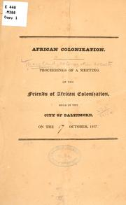 Cover of: African colonization | Maryland colonization society