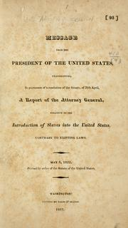 Cover of: Message from the President of the United States by United States. Attorney-General.