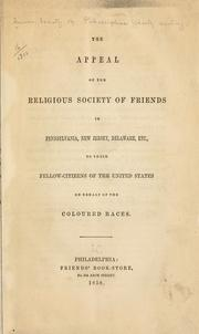 Cover of: The appeal of the Religious Society of Friends in Pennsylvania, New Jersey, Delaware, etc | Philadelphia Yearly Meeting of the Religious Society of Friends
