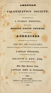 Cover of: American colonization society | New York. Public meeting in behalf of the American colonization society, 1829
