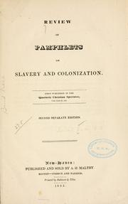 Cover of: Review of pamphlets on slavery and colonization | Leonard Bacon
