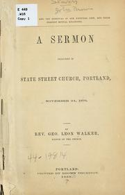 Cover of: The material and the spiritual in our national life, and their present mutual relations | George Leon Walker
