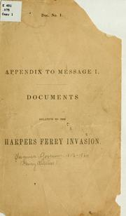 Cover of: Appendix to message I | Virginia. Governor, 1856-1860 (Henry A. Wise)