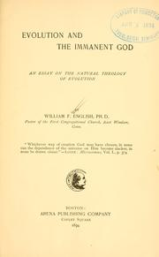 Cover of: Evolution and the immanent God | William F. English