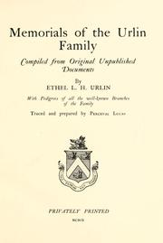 Cover of: Memorials of the Urlin family | Ethel Lucy Hargreave Urlin